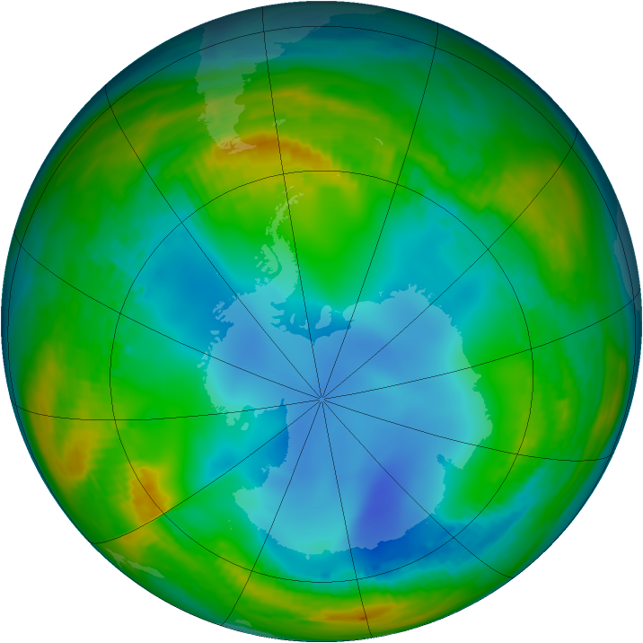 Antarctic ozone map for 13 July 1986